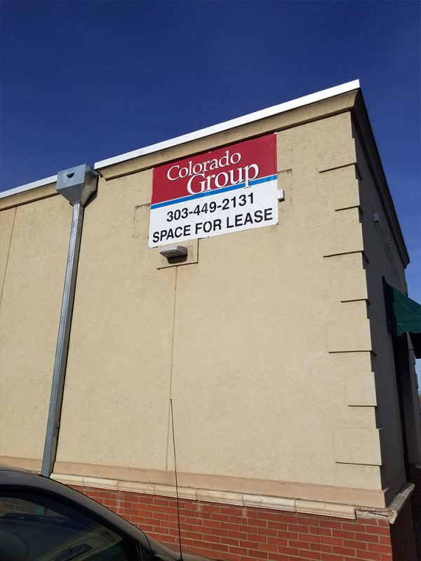 Space For Lease Banner Install in Longmont