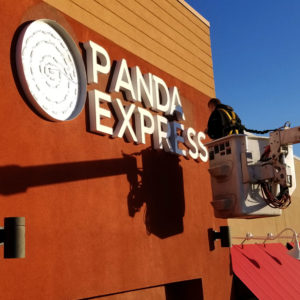 Panda Express Channel Letters Getting Installed