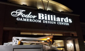 Fodor Billiards Channel Letters Signs At Night