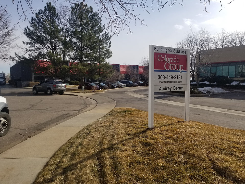 Building for Sublease Sign Installed in Boulder